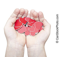 hands hold a many red hearts on white background