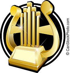 Harp. Gold award statuette - Vector illustration of golden...