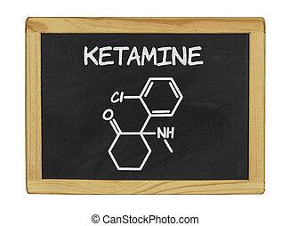 chimique, formule, ketamine, tableau noir