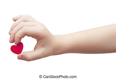 hands hold a red heart on white background