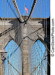 Brooklyn Bridge in Manhattan over Hudson River - New York...