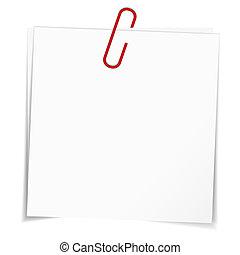 negócio, notas, vermelho, papel, clip