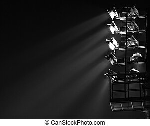 The Stadium Spot-light tower darck background
