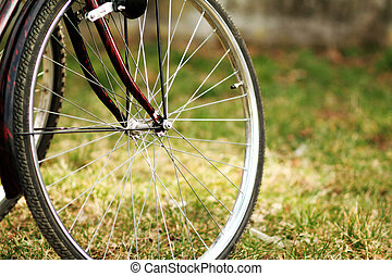 Bike wheel with brake. Shallow depth of field.