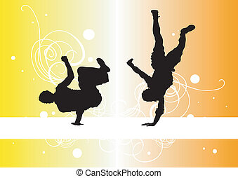 Capoeira - Illustration of two capoeira dancers