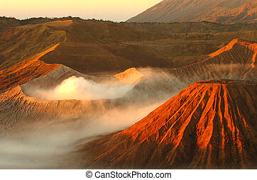 bromo - Landscape of Volcanoes in Bromo mountain at Java,...