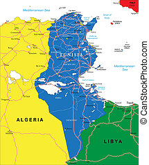 Tunisia map - Highly detailed vector map of Tunisia with...