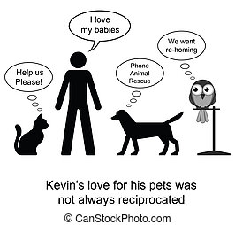 Pet love - Kevin loved his pets cartoon isolated on white...