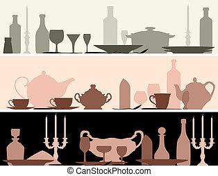 Vector banner of serving utensils. - Horizontal vector...