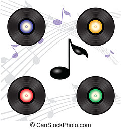 vinyl record - colorful illustration with vinyl record for...