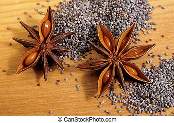 Star anise and poppy seeds