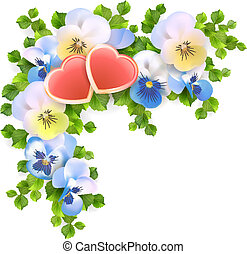 Vector bouquet flowers, hearts on white background - Vector...