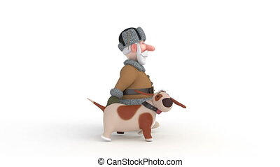 The 3D grandfather walks with a dog - Outdoor recreation...