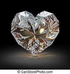 Diamond in the shape of heart on black background