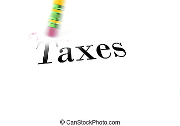 Erasing Taxes with Pencil Eraser - Person using a pencil...