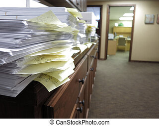Messy Office with Documents - Messy office with many...