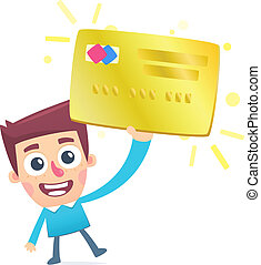 Happy owner of a gold plastic card
