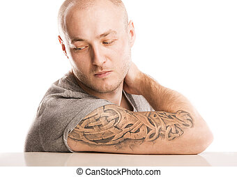 Man with tattoo - Handsome young man with tattoo, isolated...