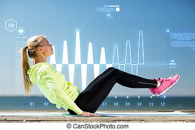 woman doing sports outdoors - fitness and lifestyle concept...