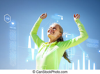 woman runner celebrating victory - sport and lifestyle...