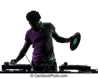 disc jockey man silhouette - one disc jockey man in...