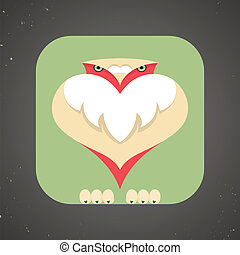 Icon of cute little cartoon pigeon or dove - Vector...