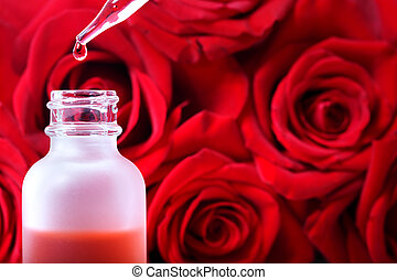 Dropper bottle with red roses - Dropper bottle with rose...