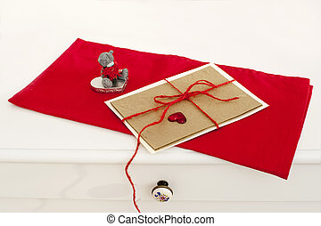 Valentine greeting card on red napkin - Valentines day...