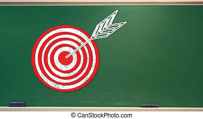 Target on chalkboard
