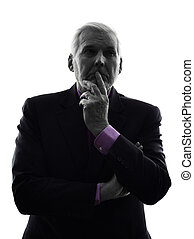 senior business man silhouette - One Caucasian Senior...