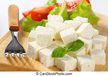 Feta Cheese - Cubes of feta cheese on a plate