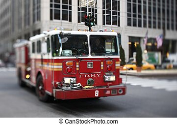 NYFD vehicle in midtown Manhattan selective focus - tilt...