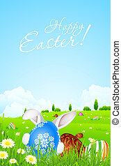 Green Landscape Background with Easter Eggs and Rabbit