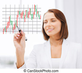 businesswoman drawing forex chart in the air - office,...