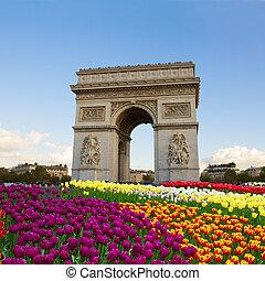 Arc de triomphe, Paris, France - Arc de triomphe at spring...