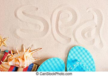 inscripción, parafernalia, playa, arenas, mar, multa