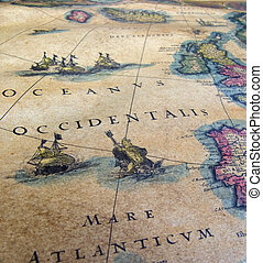 old map - old sea map close up detail