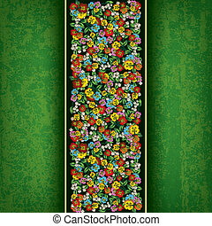 abstract grunge green background with spring flowers