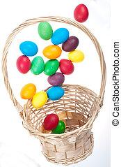 Flying Easter eggs - Easter eggs flying from basket