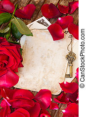 vintage background with rose petals