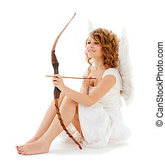 happy teenage cupid girl with bow and arrow - holidays,...