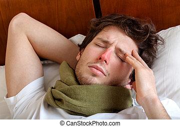hombre, teniendo, gripe