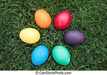 Easter eggs in a sircle