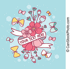 Decorative flowers with ribbon for text