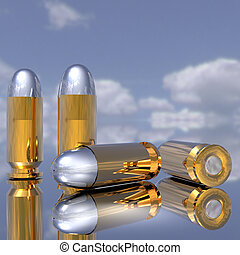 bullets - bright golden bullets in 3D