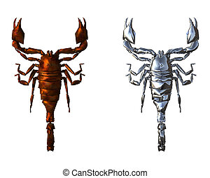 3D bright scorpion isolted on a white background