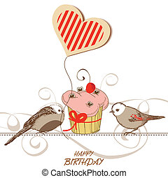 Birthday card with cute birds, cupcake and heart