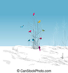 Winter landscape, colorful birds in the tree