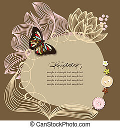 Scrapbook design, invitation template with flowers and butterfly