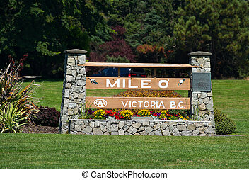 Mile 0, the beginning of highway 1 in Victoria BC, Canada -...